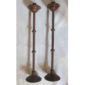 Pair of tall oak candlesticks